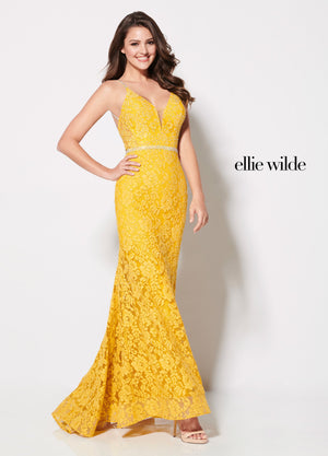 Ellie Wilde EW21968 prom dress images.  Ellie Wilde EW21968 is available in these colors: Yellow.