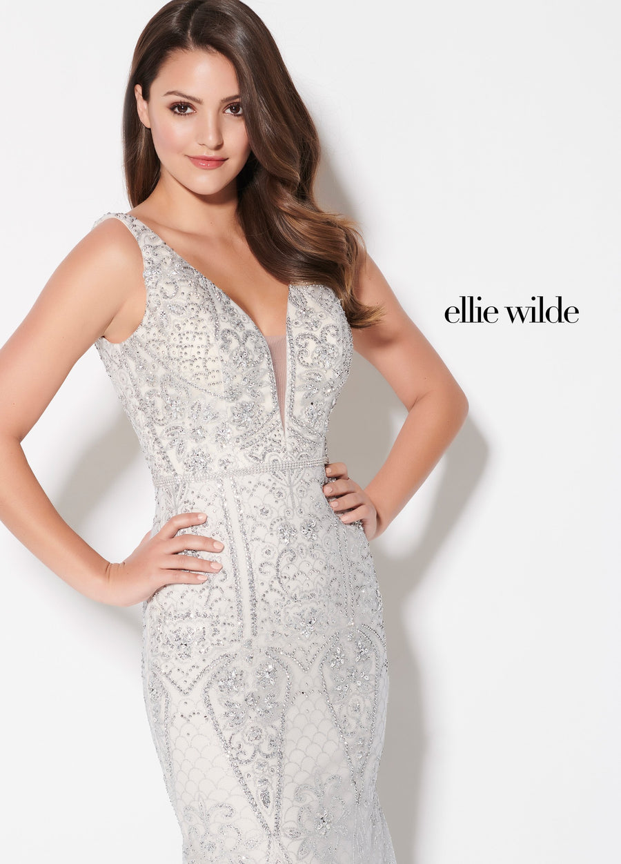 Ellie Wilde EW21969 prom dress images.  Ellie Wilde EW21969 is available in these colors: Silver, Rose Gold.