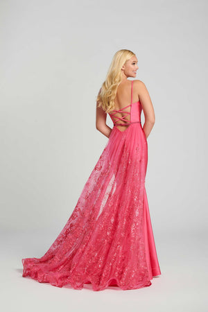 Ellie Wilde EW120009 prom dress images.  Ellie Wilde EW120009 is available in these colors: English Rose, Hot Pink, Powder Blue, Orchid.