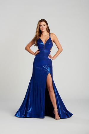 Ellie Wilde EW120031 prom dress images.  Ellie Wilde EW120031 is available in these colors: Emerald, Gold, Royal Blue, Petal, Red.