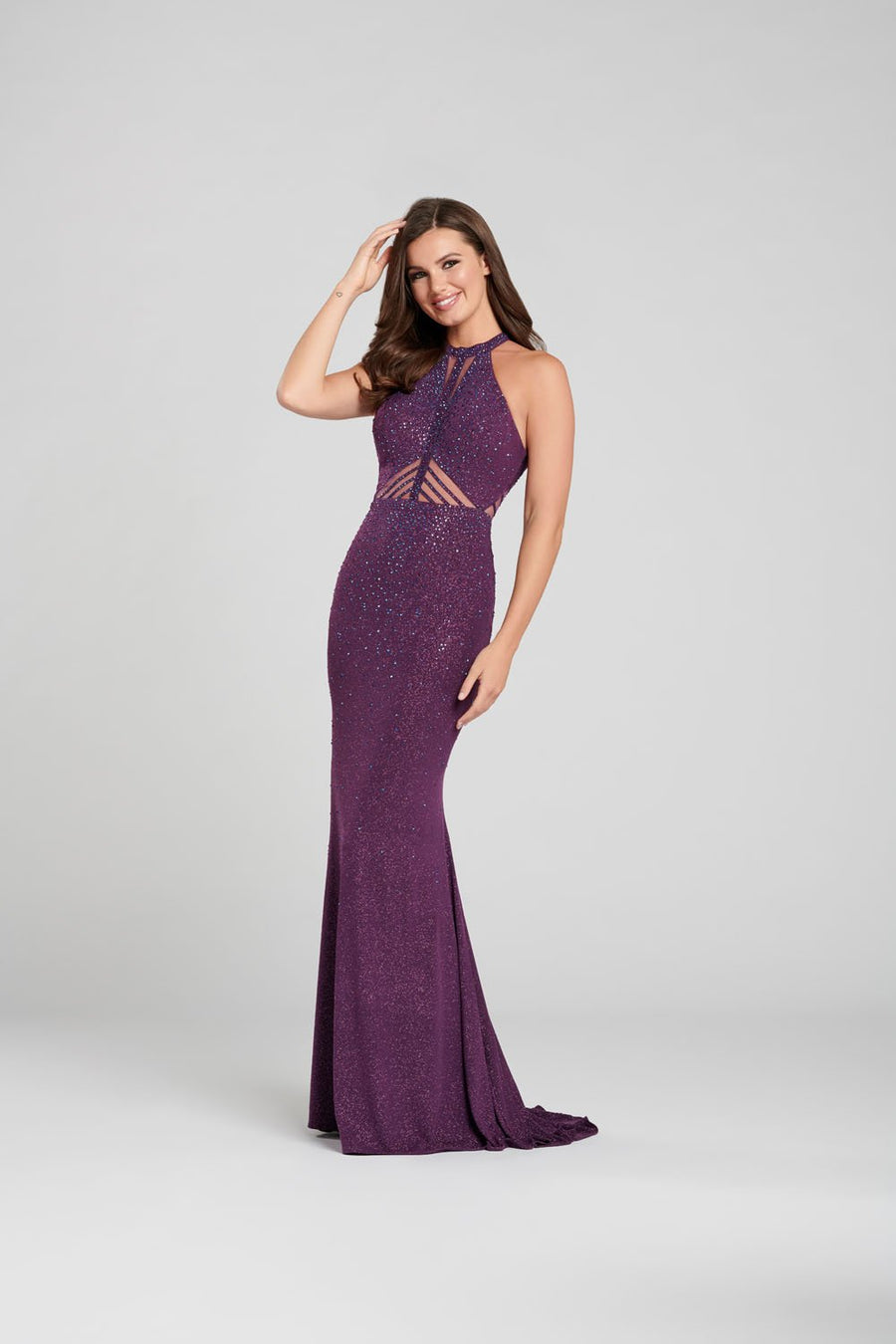Ellie Wilde EW120035 prom dress images.  Ellie Wilde EW120035 is available in these colors: Purple, Red, Navy Blue, Blackberry.