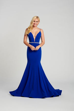 Ellie Wilde EW120083 prom dress images.  Ellie Wilde EW120083 is available in these colors: Black, Royal Blue, Red .