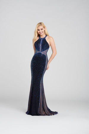 Ellie Wilde EW120096 prom dress images.  Ellie Wilde EW120096 is available in these colors: Navy Blue, Gray Rose Gold, Red.