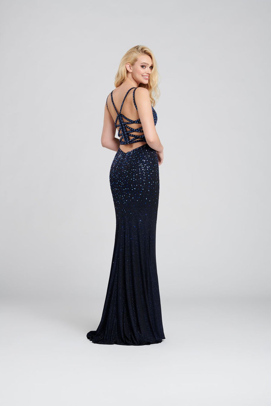 Ellie Wilde EW120100 prom dress images.  Ellie Wilde EW120100 is available in these colors: Navy Blue, Wine, Blackberry.