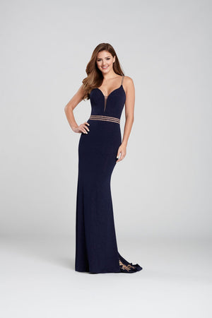 Ellie Wilde EW120103 prom dress images.  Ellie Wilde EW120103 is available in these colors: Navy Blue Gold, Blackberry Gold .