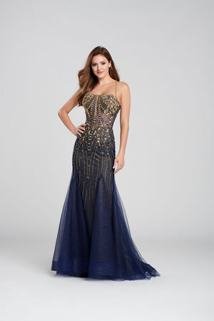 Ellie Wilde EW120104 prom dress images.  Ellie Wilde EW120104 is available in these colors: Navy Blue Gold, Light Gold.