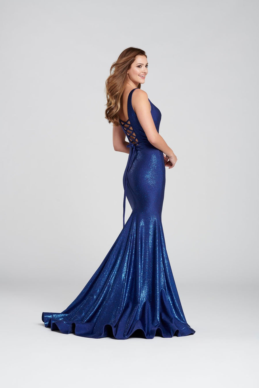 Ellie Wilde EW120105 prom dress images.  Ellie Wilde EW120105 is available in these colors: Navy Blue, Royal Blue.
