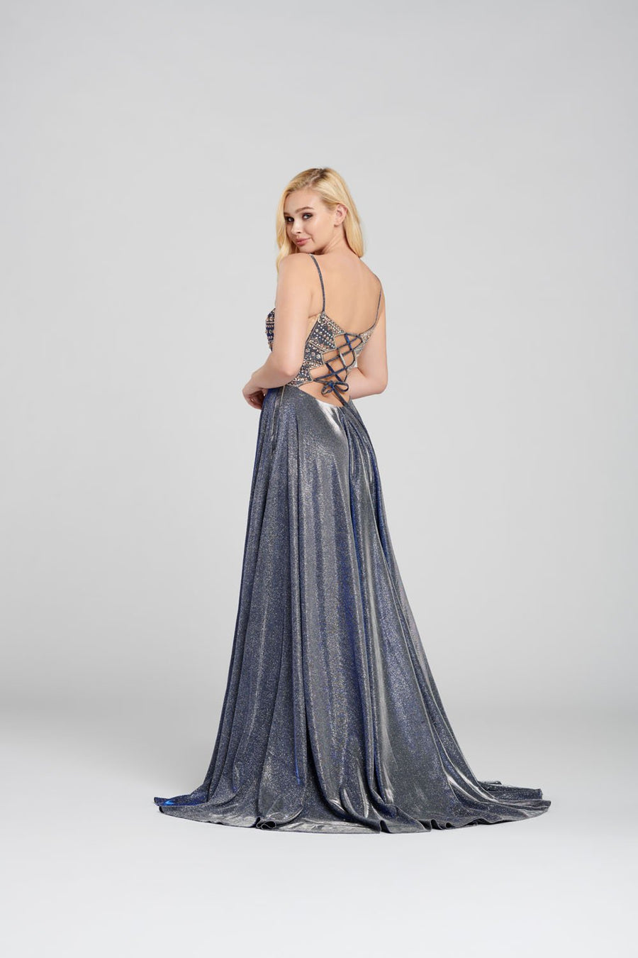 Ellie Wilde EW120106 prom dress images.  Ellie Wilde EW120106 is available in these colors: Navy Blue Gold, Light Gold.
