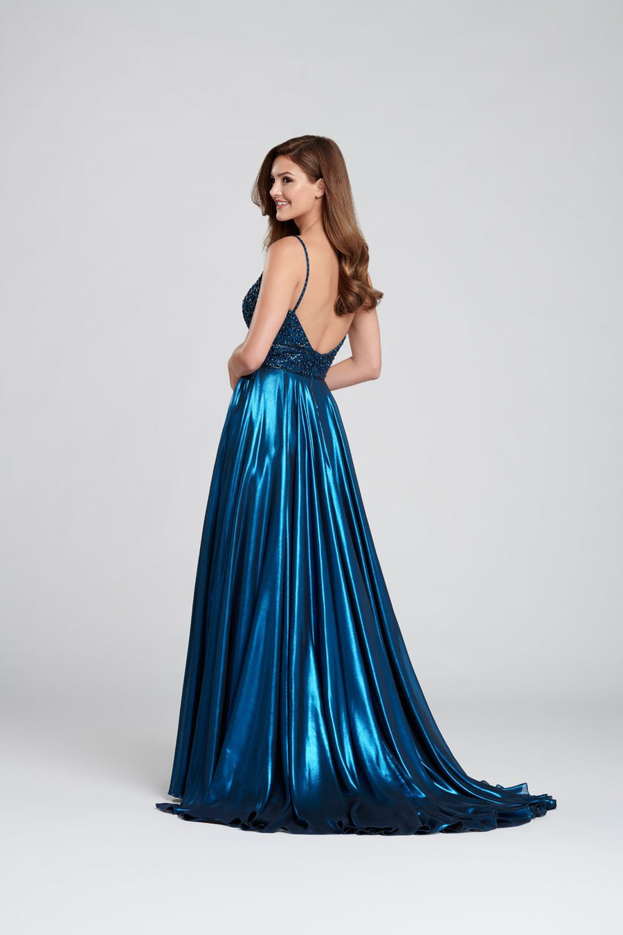 Ellie Wilde EW120107 prom dress images.  Ellie Wilde EW120107 is available in these colors: Dark Teal, Rose Quartz, Red, Light Blue.