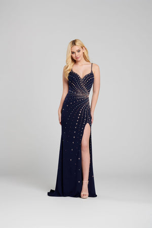 Ellie Wilde EW120112 prom dress images.  Ellie Wilde EW120112 is available in these colors: Navy Rose Gold .