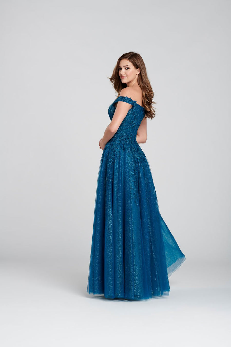 Ellie Wilde EW120114 prom dress images.  Ellie Wilde EW120114 is available in these colors: Dark Teal, Navy Blue, English Rose, Wine.