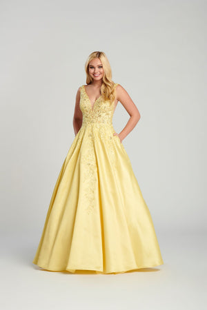 Ellie Wilde EW120115 prom dress images.  Ellie Wilde EW120115 is available in these colors: Pink, Navy Blue, Fuchsia, Light Yellow .