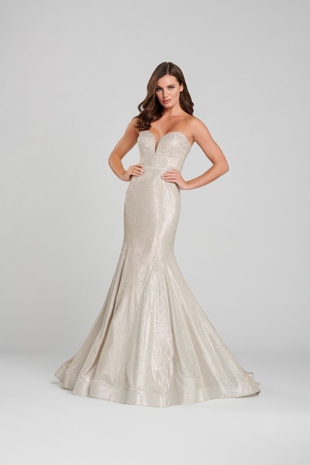 Ellie Wilde EW120125 prom dress images.  Ellie Wilde EW120125 is available in these colors: Champagne Silver, Periwinkle.