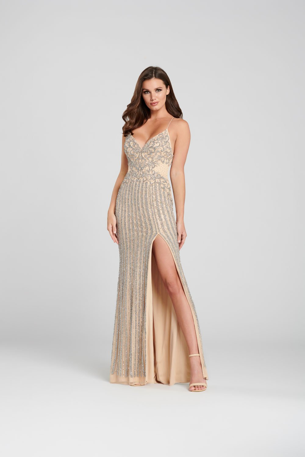 Ellie Wilde EW120126 prom dress images.  Ellie Wilde EW120126 is available in these colors: Silver Nude.