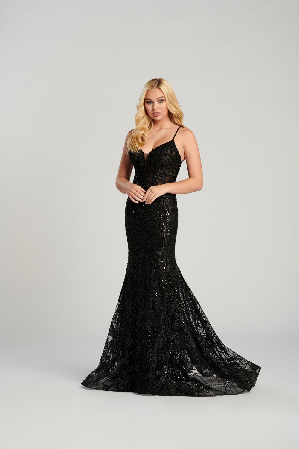 Ellie Wilde EW120129 prom dress images.  Ellie Wilde EW120129 is available in these colors: Black, Wine.