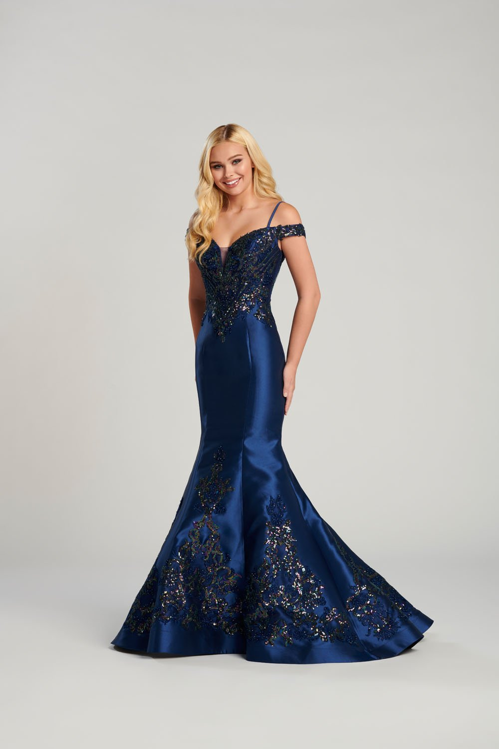 Ellie Wilde EW120131 prom dress images.  Ellie Wilde EW120131 is available in these colors: Pink, Navy Blue.