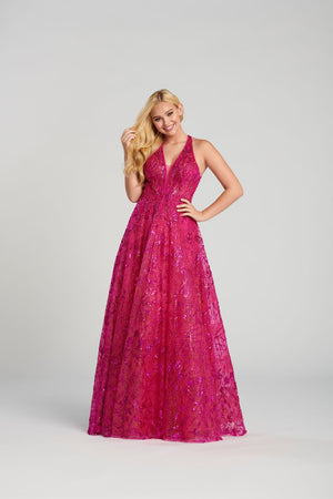Ellie Wilde EW120132 prom dress images.  Ellie Wilde EW120132 is available in these colors: Rose Gold, Emerald, Fuchsia.