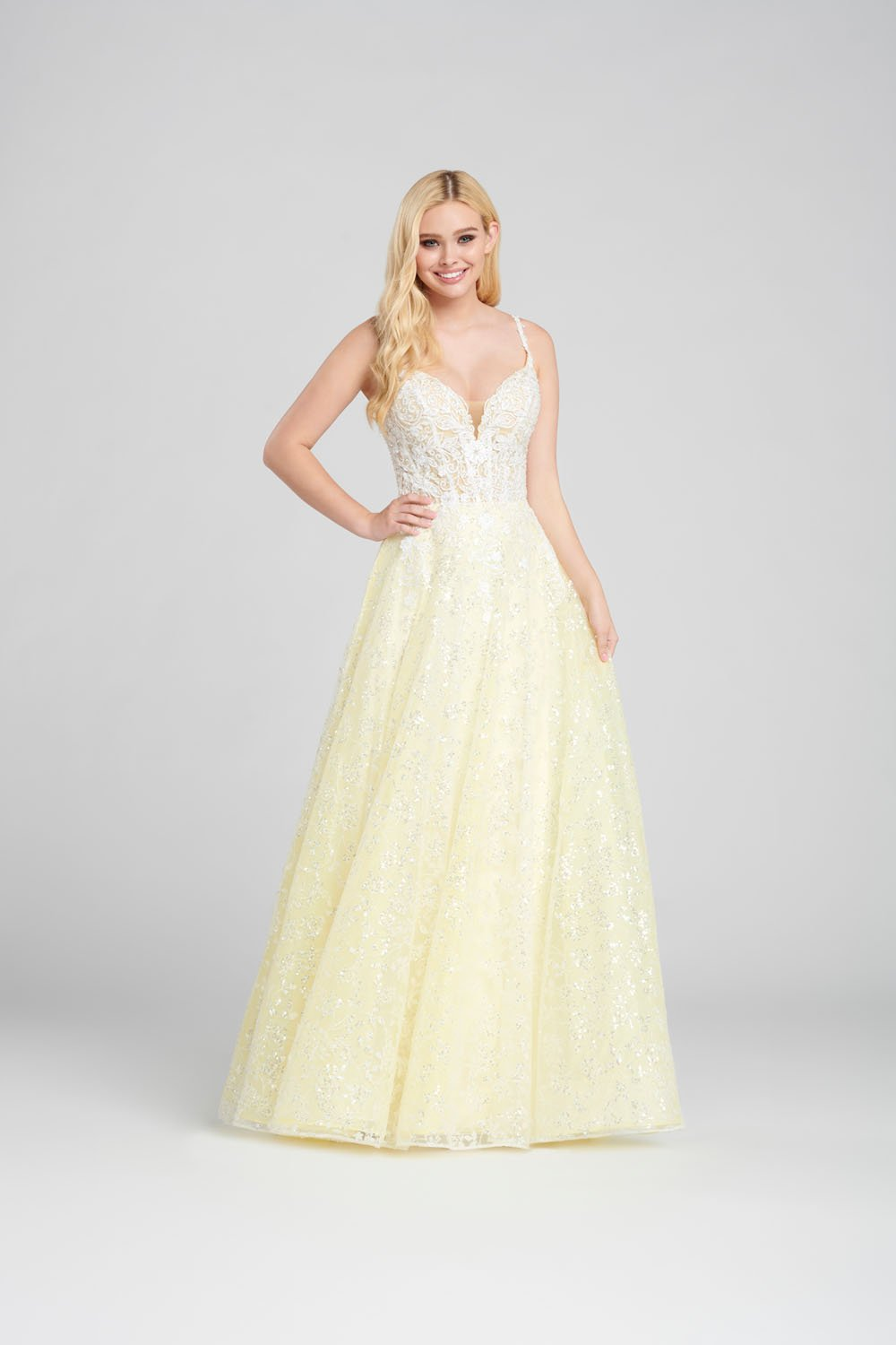 Ellie Wilde EW120133 prom dress images.  Ellie Wilde EW120133 is available in these colors: Light Pink, Light Yellow, Light Blue.