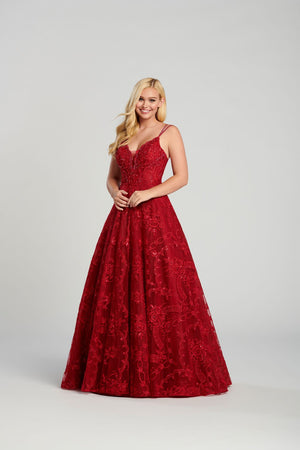 Ellie Wilde EW120135 prom dress images.  Ellie Wilde EW120135 is available in these colors: Ivory Blush, Black , Ruby .
