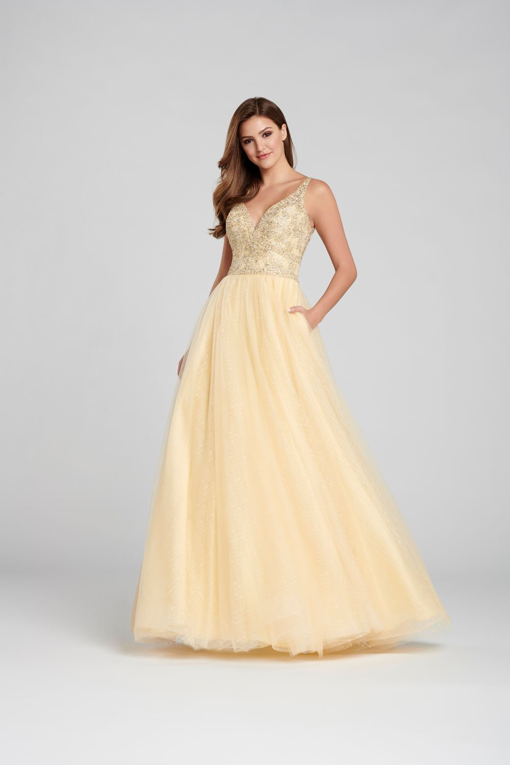 Ellie Wilde EW120140 prom dress images.  Ellie Wilde EW120140 is available in these colors: Champagne, Navy Blue .