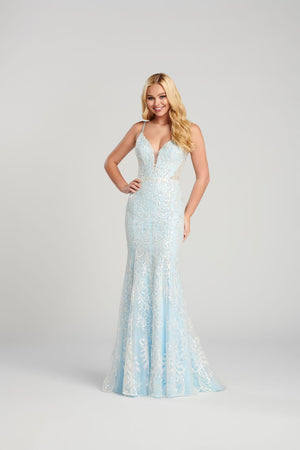 Ellie Wilde EW120142 prom dress images.  Ellie Wilde EW120142 is available in these colors: Light Blue, Eggshell, Rose Gold, Gray Rose Gold .