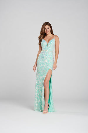 Ellie Wilde EW120143 prom dress images.  Ellie Wilde EW120143 is available in these colors: Mint, Purple.