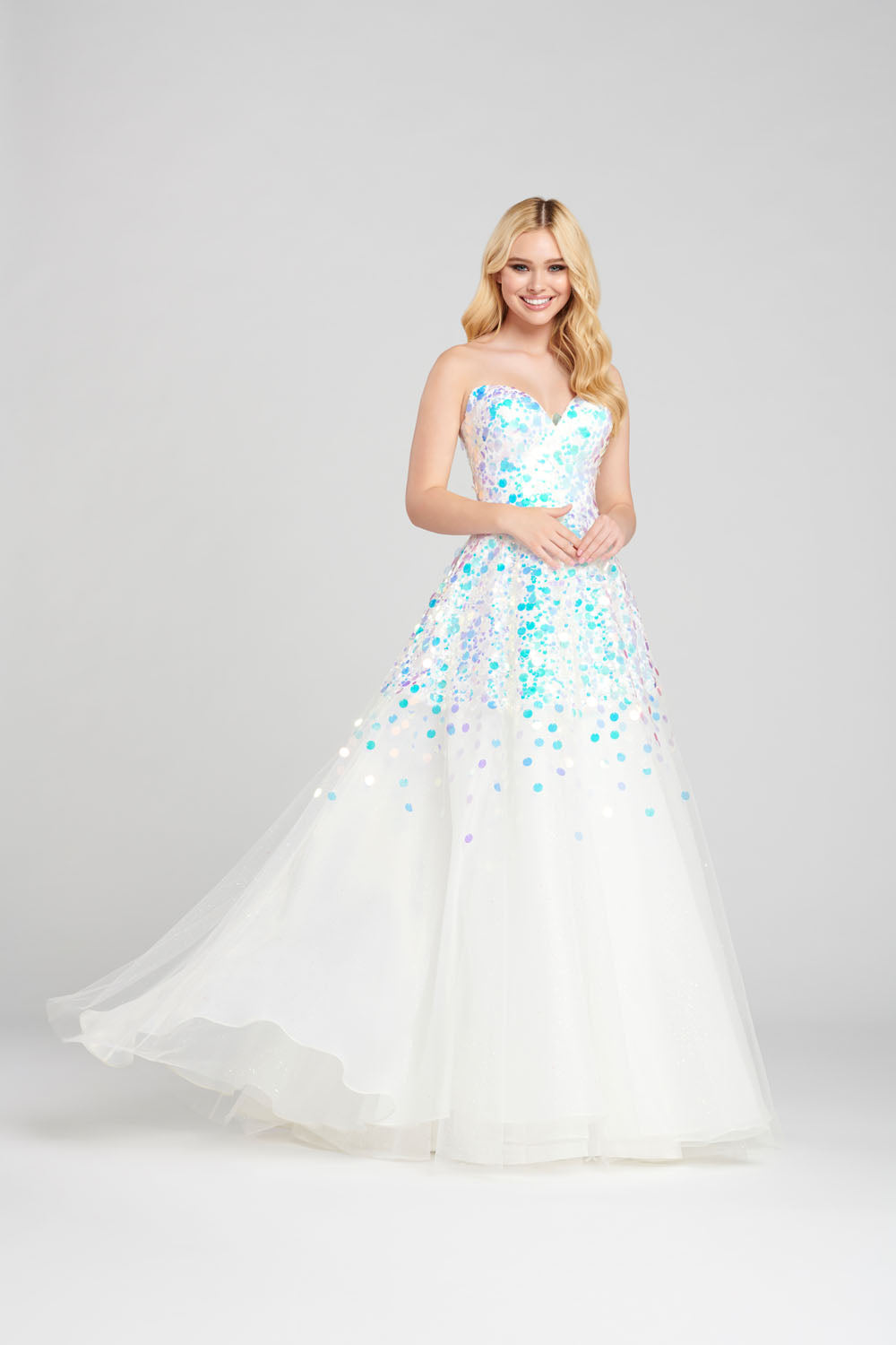 Ellie Wilde EW120144 prom dress images.  Ellie Wilde EW120144 is available in these colors: Ivory, Navy Blue.