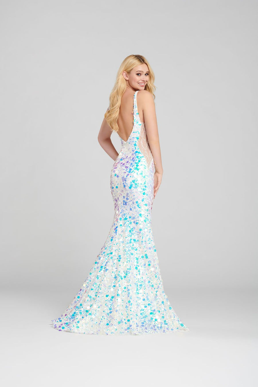 Ellie Wilde EW120145 prom dress images.  Ellie Wilde EW120145 is available in these colors: Ivory, Navy Blue.