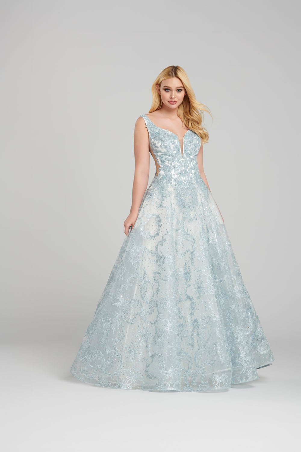 Ellie Wilde EW120149 prom dress images.  Ellie Wilde EW120149 is available in these colors: Light Blue, Blush, Lilac.