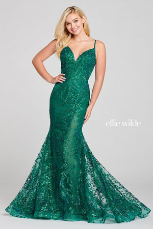 Ellie Wilde EW121011 prom dress images.  Ellie Wilde EW121011 is available in these colors: Emerald.