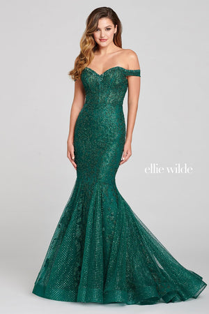 Ellie Wilde EW121014 prom dress images.  Ellie Wilde EW121014 is available in these colors: Emerald.