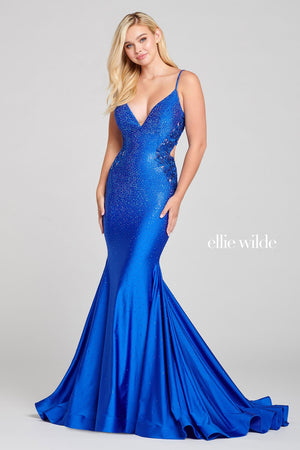 Ellie Wilde EW121018 prom dress images.  Ellie Wilde EW121018 is available in these colors: Emerald, English Rose, Royal Blue.