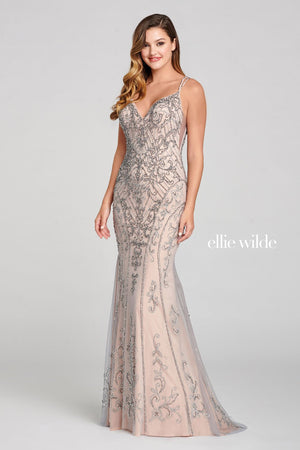 Ellie Wilde EW121020 prom dress images.  Ellie Wilde EW121020 is available in these colors: Platinum Nude, Navy Blue.