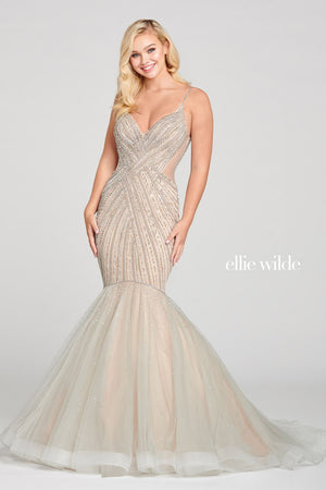 Ellie Wilde EW121022 prom dress images.  Ellie Wilde EW121022 is available in these colors: Silver Nude.