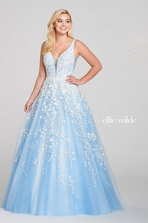Ellie Wilde EW121028 prom dress images.  Ellie Wilde EW121028 is available in these colors: Ice Blue White.