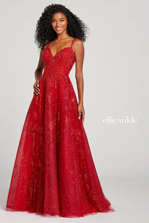 Ellie Wilde EW121034 prom dress images.  Ellie Wilde EW121034 is available in these colors: Ruby.