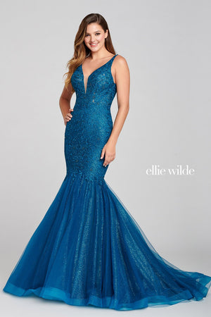 Ellie Wilde EW121044 prom dress images.  Ellie Wilde EW121044 is available in these colors: Teal.