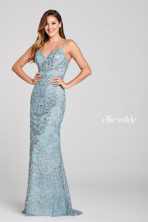 Ellie Wilde EW121046 prom dress images.  Ellie Wilde EW121046 is available in these colors: Arctic Blue.