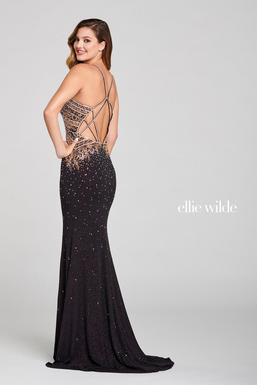 Ellie Wilde EW121050 prom dress images.  Ellie Wilde EW121050 is available in these colors: Dark Purple Rose Gold.