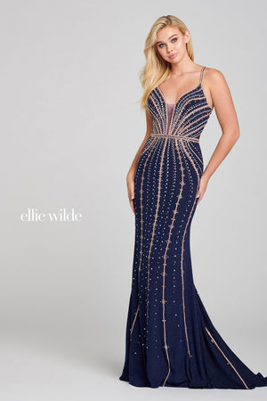Ellie Wilde EW121051 prom dress images.  Ellie Wilde EW121051 is available in these colors: Navy Rose Gold.