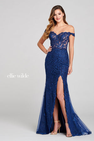 Ellie Wilde EW121052 prom dress images.  Ellie Wilde EW121052 is available in these colors: Navy Blue.