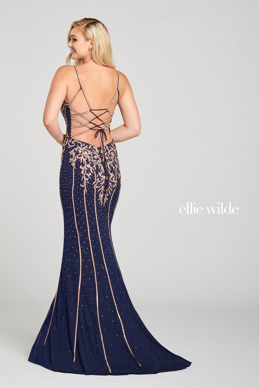 Ellie Wilde EW121053 prom dress images.  Ellie Wilde EW121053 is available in these colors: Navy Rose Gold.