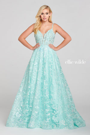 Ellie Wilde EW121058 prom dress images.  Ellie Wilde EW121058 is available in these colors: Mint.
