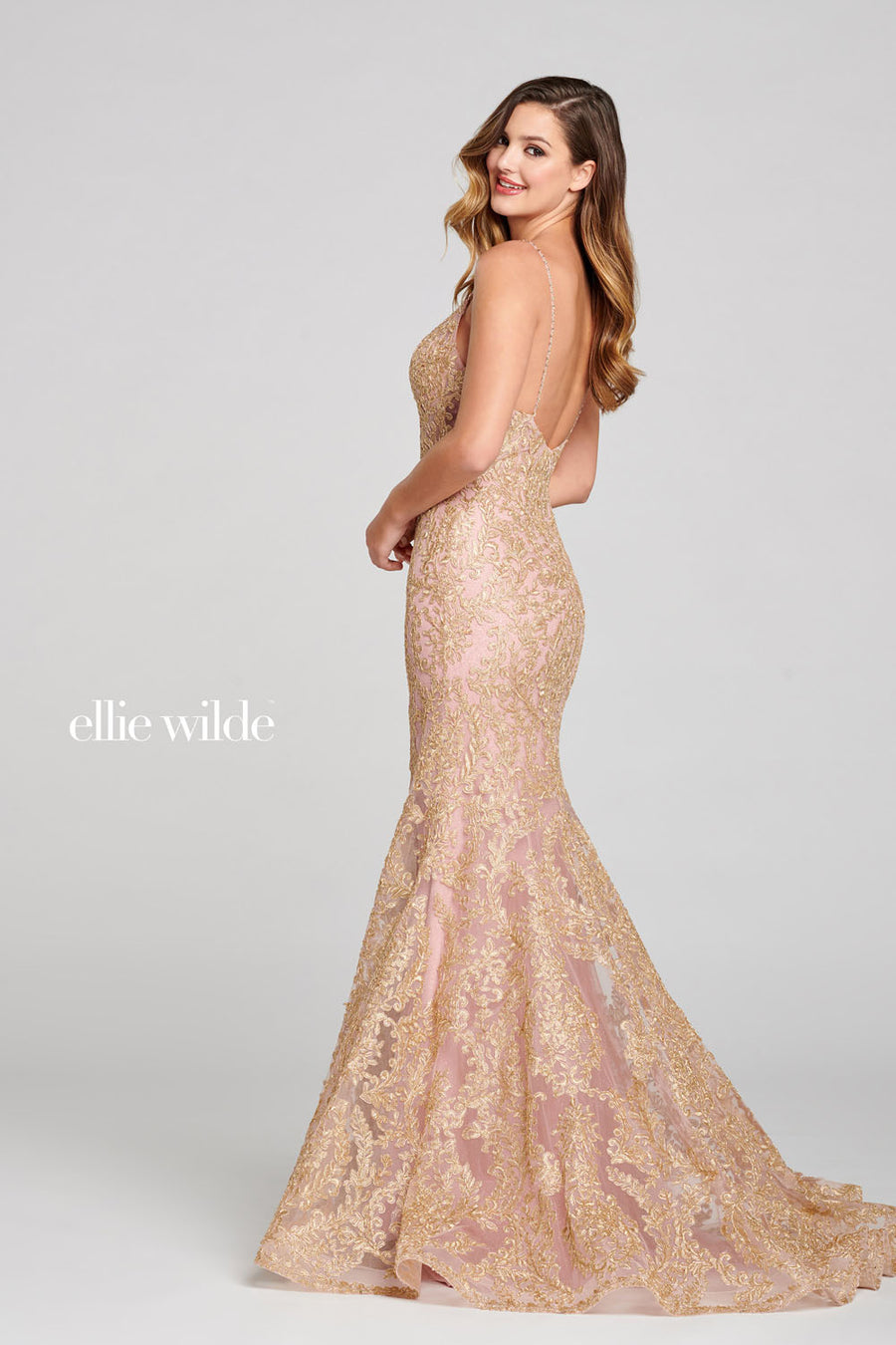 Ellie Wilde EW121060 prom dress images.  Ellie Wilde EW121060 is available in these colors: Ivory Champagne, Rose Gold.