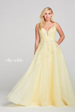 Ellie Wilde EW121062 prom dress images.  Ellie Wilde EW121062 is available in these colors: Light Yellow.