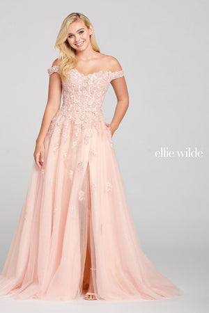 Ellie Wilde EW121063 prom dress images.  Ellie Wilde EW121063 is available in these colors: Blush Champagne.