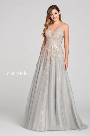 Ellie Wilde EW121067 prom dress images.  Ellie Wilde EW121067 is available in these colors: Gray Rose Gold.