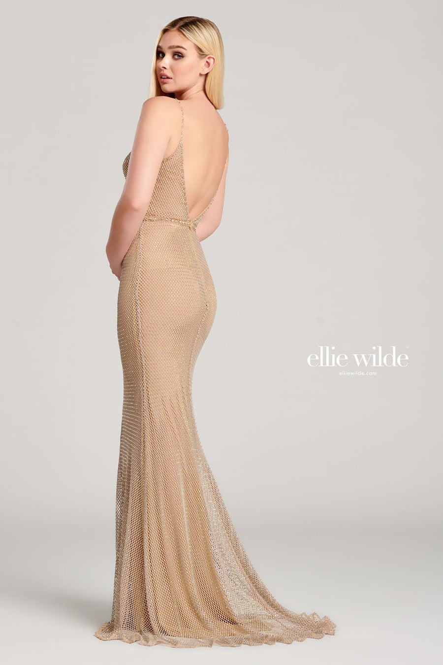 Ellie Wilde EW22001 prom dress images.  Ellie Wilde EW22001 is available in these colors: Black, Nude, Red.