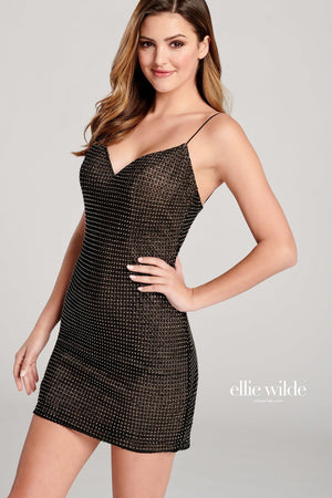 Ellie Wilde EW22002S prom dress images.  Ellie Wilde EW22002S is available in these colors: Black, Opal.