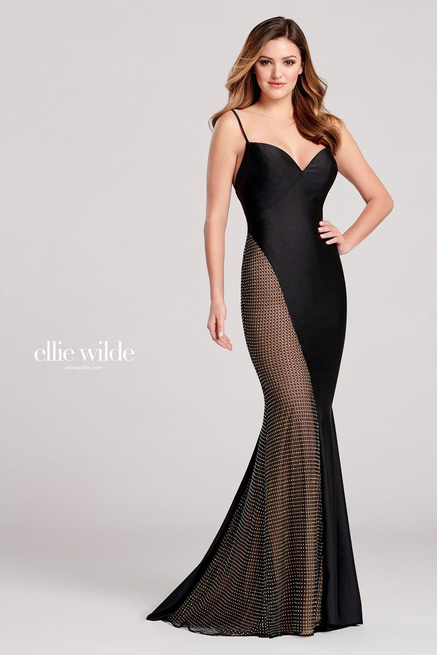Ellie Wilde EW22003 prom dress images.  Ellie Wilde EW22003 is available in these colors: Black.